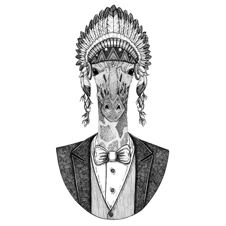 Camelopard, giraffe Wild animal wearing inidan hat, head dress with feathers Hand drawn image for tattoo, t-shirt, emblem, badge, logo, patch Stock Photo