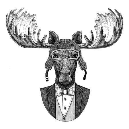 Moose, elk Animal wearing jacket with bow-tie and biker helmet or aviatior helmet. Elegant biker, motorcycle rider, aviator. Image for tattoo, t-shirt, emblem, badge, logo, patches