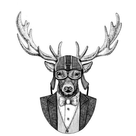Deer Animal wearing jacket with bow-tie and biker helmet or aviatior helmet. Elegant biker, motorcycle rider, aviator. Image for tattoo, t-shirt, emblem, badge, logo, patches