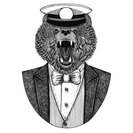 Brown bear Russian bear Animal wearing jacket with bow-tie and capitans peaked cap Elegant sailor, navy, capitan, pirate. Image for tattoo, t-shirt, emblem, badge, logo, patches