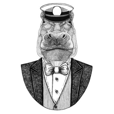 Hipopótamo, Hipopótamo, gigante, caballo de río Chaqueta con capucha y corbata de pajarita Elegante marinero, armada, capitán, pirata. Imagen de tatuaje, camiseta, emblema, placa, logotipo, parches Foto de archivo - 92843081