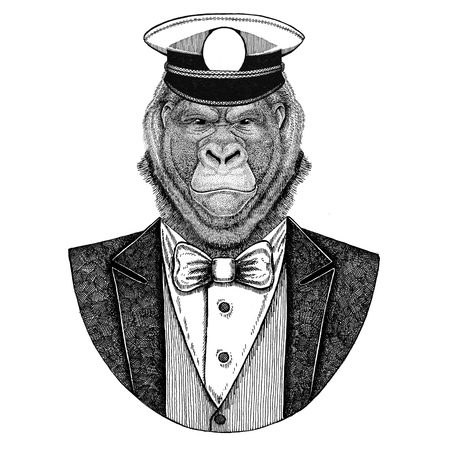Gorilla, monkey, ape Animal wearing jacket with bow-tie and capitans peaked cap Elegant sailor, navy, capitan, pirate. Image for tattoo, t-shirt, emblem, badge, logo, patches