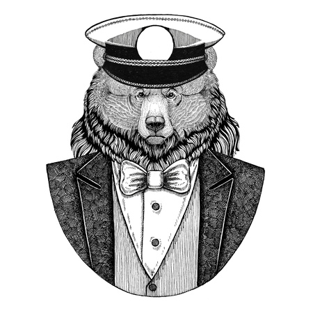 Grizzly bear Big wild bear Animal wearing jacket with bow-tie and capitans peaked cap Elegant sailor, navy, capitan, pirate. Image for tattoo, t-shirt, emblem, badge, logo, patches