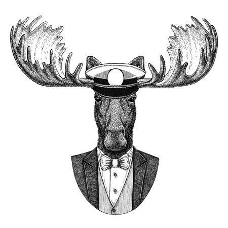 Orignal, wapiti Animal portant une veste à n?ud papillon et une casquette capitans à capuchon Élégant marin, marine, capitan, pirate. Image pour tatouage, t-shirt, emblème, badge, logo, patchs Banque d'images - 92843089