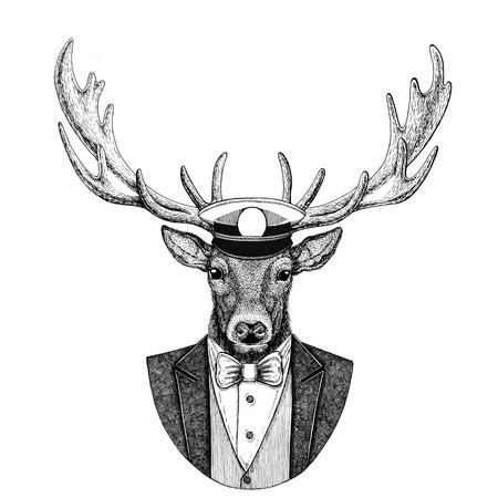 Veado Animal vestindo jaqueta com gravata borboleta e capitães boné pala Marinheiro elegante, marinha, capitão, pirata. Imagem para tatuagem, t-shirt, emblema, emblema, logotipo, patches Foto de archivo - 92843095