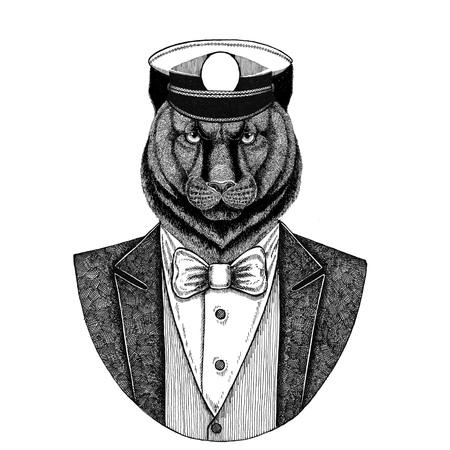 Panther, Puma, Cougar Animal trägt Jacke mit Fliege und Capitans Schirmmütze Elegant Seemann, Marine, Kapitän, Pirat. Bild für Tattoo, T-Shirt, Emblem, Abzeichen, Logo, Patches Standard-Bild - 92811261