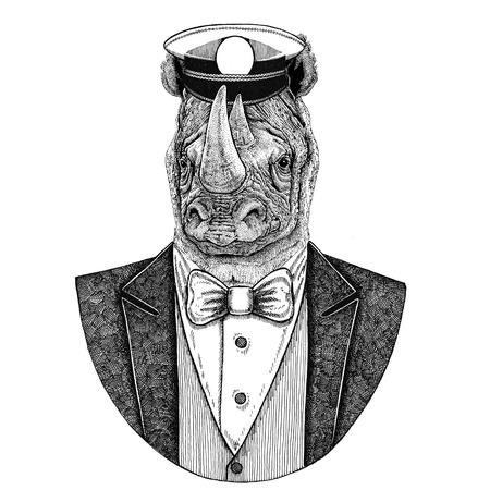 Rhinoceros, rhino Animal wearing jacket with bow-tie and capitans peaked cap Elegant sailor, navy, capitan, pirate. Image for tattoo, t-shirt, emblem, badge, logo, patches