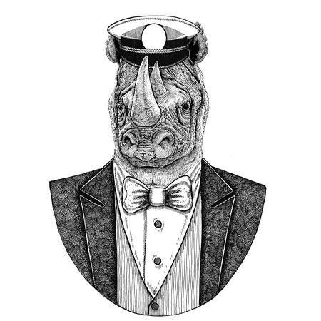 Neushoorn, neushoorn Dierlijke jas met strikje en capitans pet met capuchon Elegante matroos, marine, capitan, piraat. Afbeelding voor tattoo, t-shirt, embleem, insigne, logo, patches