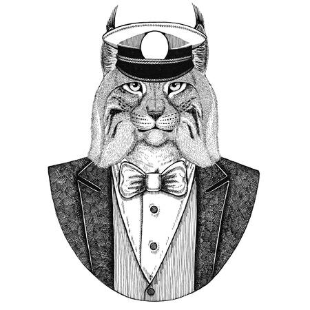 Gatto selvatico Lynx Bobcat Trot Animale giacca da portare con farfallino e capitani berretto a visiera Elegante marinaio, marina, capitano, pirata. Immagine per tatuaggio, t-shirt, emblema, distintivo, logo, patch Archivio Fotografico - 92811268