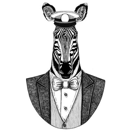 Zebra Horse Animal vistiendo chaqueta con pajarita y capitans cap de pico Elegante marinero, azul marino, capitán, pirata. Imagen para tatuaje, camiseta, emblema, insignia, logo, parches. Foto de archivo - 92813495