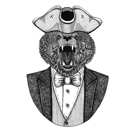 Brown bear, Russian bear Animal wearing cocked hat, tricorn Hand drawn image for tattoo, t-shirt, emblem, badge, logo, patch