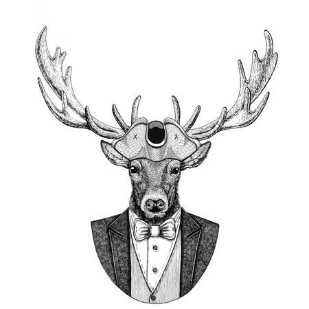 Deer Animal wearing cocked hat, tricorn Hand drawn image for tattoo, t-shirt, emblem, badge, logo, patches