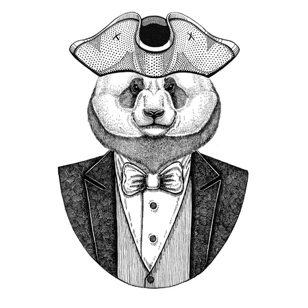 Oso panda, oso de bambú Animal con sombrero de amartillado, tricornio Imagen dibujado mano de tatuaje, camiseta, emblema, insignia, logotipo, parches Foto de archivo - 92813596