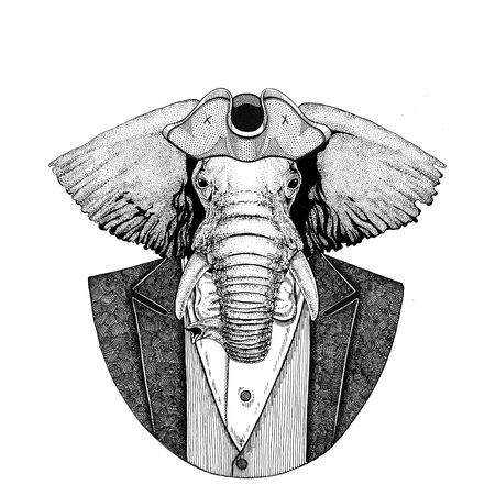 African or indian Elephant Animal wearing cocked hat, tricorn Hand drawn image for tattoo, t-shirt, emblem, badge, logo, patches