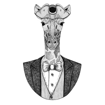 Camelopard, giraffe Animal wearing cocked hat, tricorn Hand drawn image for tattoo, t-shirt, emblem, badge, logo, patches Stock Photo