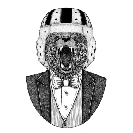 Brown bear Elegant rugby player. Old school vintage rugby helmet. American football. Vintage style illustration for tattoo, emblem, badge, logo, patch, t-shirts Stock Photo