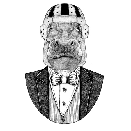 Hippo, Hippopotamus, behemoth, river-horse Elegant rugby player. Old school vintage rugby helmet. American football. Vintage style illustration for tattoo, emblem, badge, logo, patch, t-shirts