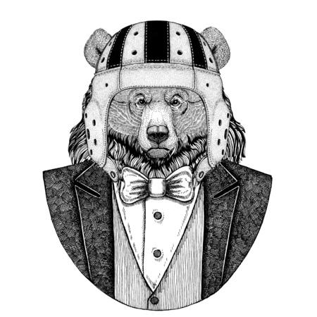 クマ、グリズリーベアエレガントなラグビー選手。古い学校のヴィンテージラグビーヘルメット。アメリカンフットボールタトゥー、エンブレム、