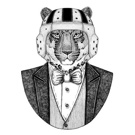 Panther, Puma, Cougar, Wild cat, Leopard Elegante rugbyspeler. Old school vintage rugbyhelm. Amerikaans voetbal. Vintage stijl illustratie voor tattoo, embleem, badge, logo, patch, t-shirt