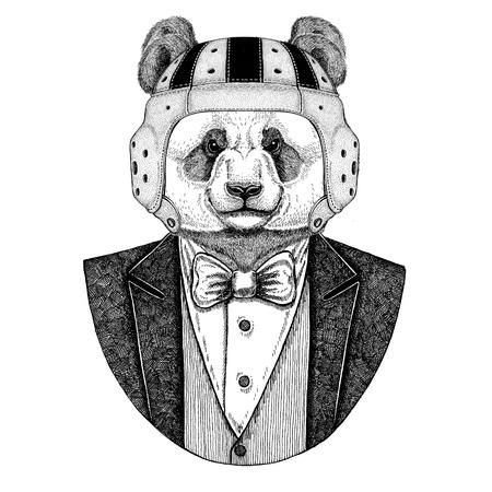 Panda bear, bamboo bear Elegant rugby player. Old school vintage rugby helmet. American football. Vintage style illustration for tattoo, emblem, badge, logo, patch, t-shirt