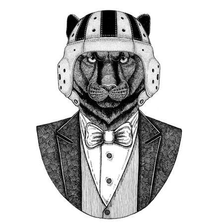 Panther, Puma, Cougar, Wild cat Elegante rugbyspeler. Old school vintage rugbyhelm. Amerikaans voetbal. Vintage stijl illustratie voor tattoo, embleem, badge, logo, patch, t-shirt