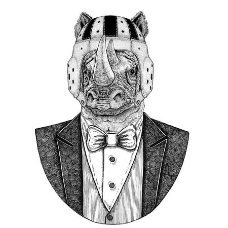 Rhinoceros, rhino Elegant rugby player. Old school vintage rugby helmet. American football. Vintage style illustration for tattoo, emblem, badge, logo, patch, t-shirt