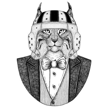 Lynx, Bobcat, Trot, Wild cat Elegant rugby player. Old school vintage rugby helmet. American football. Vintage style illustration for tattoo, emblem, badge, logo, patch, t-shirt