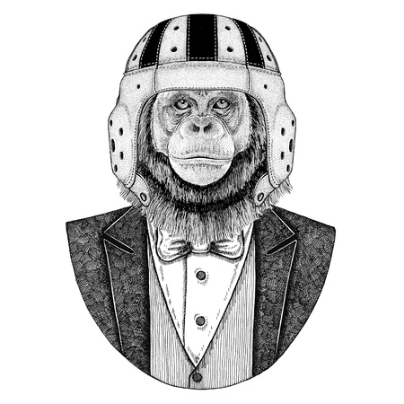 Chimpanzee, Monkey Elegant rugby player. Old school vintage rugby helmet. American football. Vintage style illustration for tattoo, emblem, badge, logo, patch, t-shirt