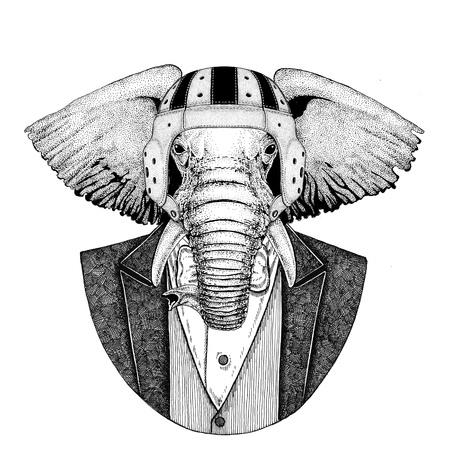 African or indian Elephant Elegant rugby player. Old school vintage rugby helmet. American football. Vintage style illustration for tattoo, emblem, badge, logo, patch, t-shirt