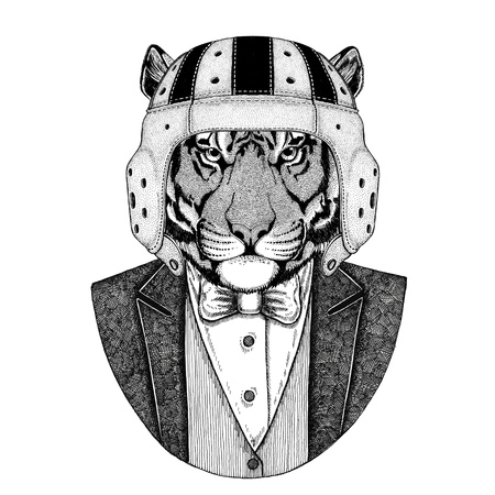 Wild tiger Elegant rugby player. Old school vintage rugby helmet. American football. Vintage style illustration for tattoo, emblem, badge, logo, patch, t-shirt