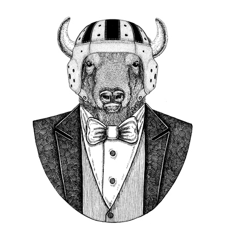 Buffalo, bison,ox, bull Elegant rugby player. Old school vintage rugby helmet. American football. Vintage style illustration for tattoo, emblem, badge, logo, patch, t-shirt Stock Photo