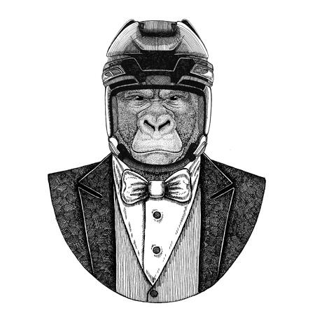 Gorilla, monkey, ape Frightful animal Animal wearing jacket with bow-tie and hockey helmet or aviatior helmet. Elegant hockey player. Image for tattoo, t-shirt, emblem, badge, logo, patch