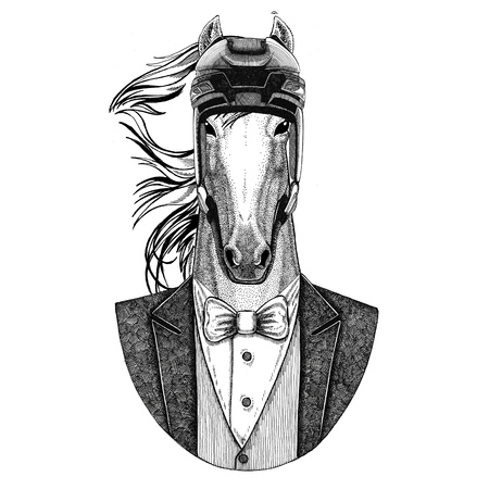 Horse, hoss, knight, steed, courser Animal con chaqueta con pajarita y casco de hockey o casco aviatior. Elegante jugador de hockey. Imagen de tatuaje, camiseta, emblema, insignia, logotipo, parche Foto de archivo - 93066894