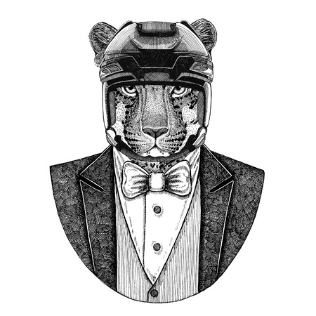 Wild cat Leopard Panther Animal wearing jacket with bow-tie and hockey helmet or aviatior helmet. Elegant hockey player. Image for tattoo, t-shirt, emblem, badge, logo, patch