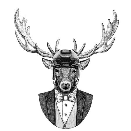 Deer Animal wearing jacket with bow-tie and hockey helmet or aviatior helmet. Elegant hockey player. Image for tattoo, t-shirt, emblem, badge, logo, patch Stock Photo
