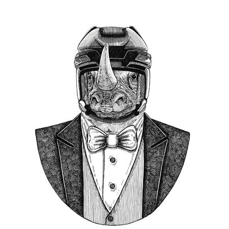 Neushoorn, neushoorn Dierendraagjack met vlinderdas en hockeyhelm of vliegenhelm. Elegante hockeyspeler. Afbeelding voor tatoeage, t-shirt, embleem, badge, logo, patch