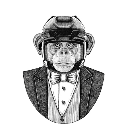 Chimpanzee, Monkey, ape Animal wearing jacket with bow-tie and hockey helmet or aviatior helmet. Elegant hockey player. Image for tattoo, t-shirt, emblem, badge, patch. Stock Photo