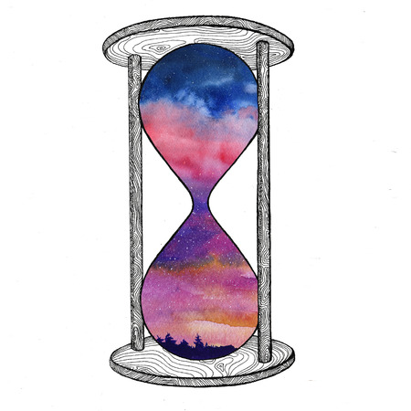 Hourglass on white background. Future concept. Sand clock with space galaxy inside. Realistic vintage hourglass for business project, t-shirt.