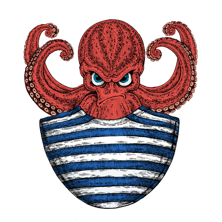Octopus. Vintage cartoon character. Fantasy octopus sailor, navy, seaman. Creature for t-shirt, badge, icon, poster, emblem