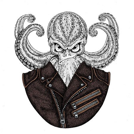 Octopus. Vintage cartoon character. Octopus wearing biker motorcycle leather jacket. Fantasy creature for t-shirt, badge, icon, poster, emblem Stockfoto