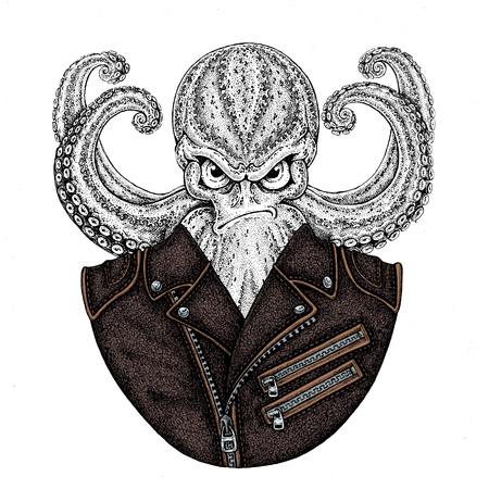 Octopus. Vintage stripfiguur. Octopus draagt ??biker motorfiets lederen jas. Fantasieschepsel voor t-shirt, kenteken, pictogram, poster, embleem Stockfoto