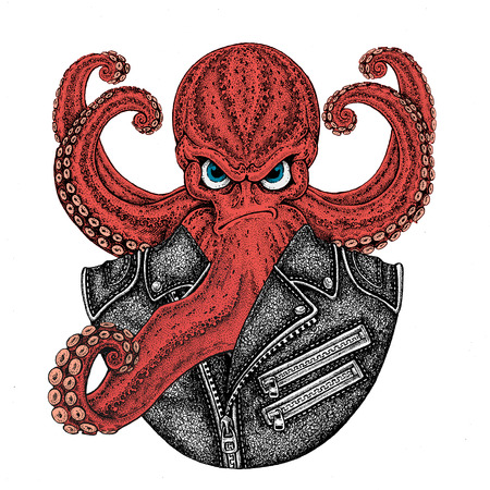 Octopus. Vintage cartoon character. Octopus wearing biker motorcycle leather jacket. Fantasy creature for t-shirt, badge, poster, emblem Banco de Imagens