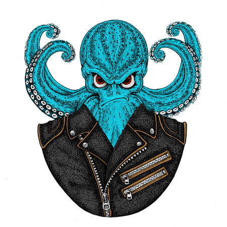 Octopus. Vintage cartoon character. Octopus wearing biker motorcycle leather jacket. Fantasy creature for t-shirt, badge, poster, emblem Stock Photo