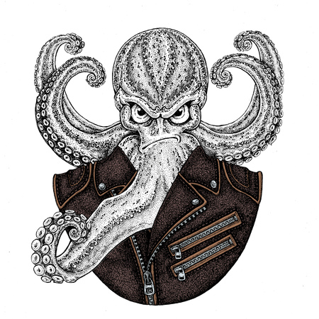 Octopus. Vintage cartoon character. Octopus wearing biker motorcycle leather jacket. Fantasy creature for t-shirt, badge, logo, poster, emblems