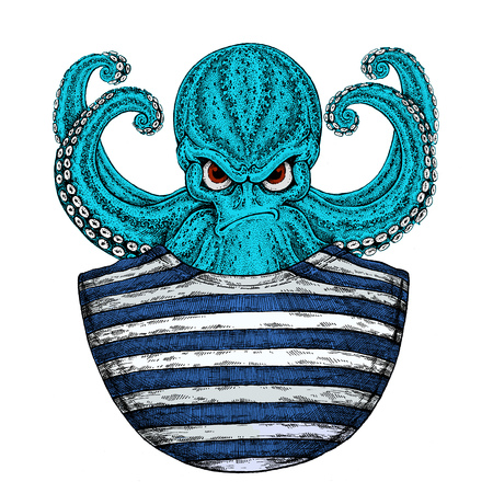 Octopus. Vintage cartoon character. Octopus wearing singlet. Fantasy creature for t-shirt, badge,  poster emblems