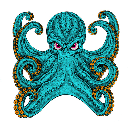 Octopus. Vintage cartoon character. Octopus wearing biker motorcycle leather jacket. Fantasy creature for t-shirt, badge,    poster, emblems 스톡 콘텐츠