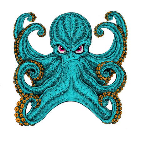 Octopus. Vintage cartoon character. Octopus wearing biker motorcycle leather jacket. Fantasy creature for t-shirt, badge,    poster, emblems Foto de archivo
