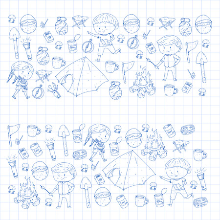 Children summer camping Kindergarten, school vacation with kids Summer and spring outdoor adventure Kids drawing style Young scouts explore forest Hiking and tourism