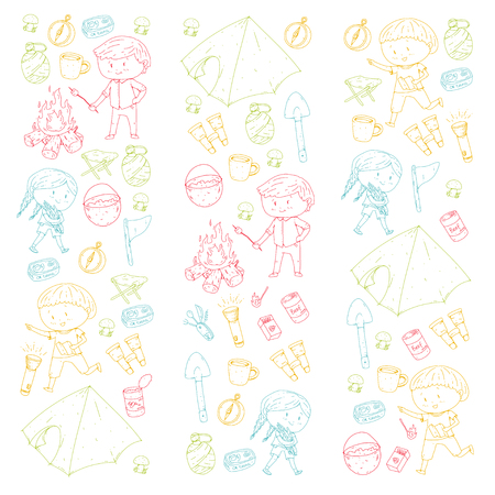 Children summer camping Kindergarten, school vacation with kids Summer and sping outdoor adventure Kids drawing style Young scouts explore forest Hiking and tourism