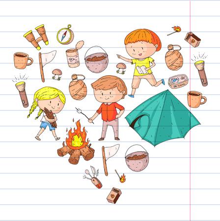 어린이 여름 캠핑 유치원, 아이들과 함께하는 학교 방학 야외 모험을 즐기기 아이들을 그리는 스타일 젊은 스카우트 숲 탐험 하이킹과 관광 일러스트
